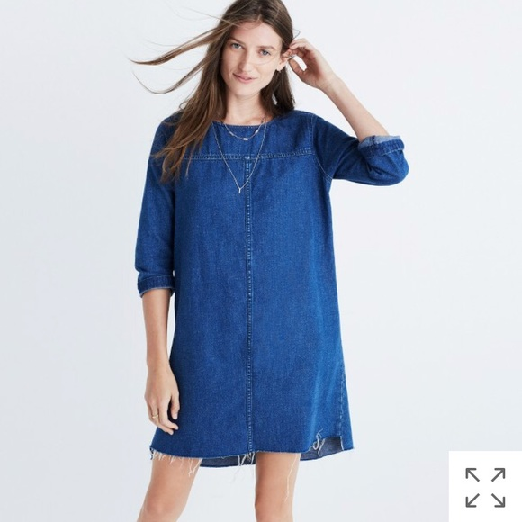 82c7d96396 NEW Madewell denim raw hem dress jean Alexa chung